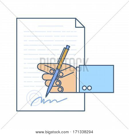 Businessman hand signing business document. Flat line illustration of hand contract agreement with stamp writing pen signature. Concept isolated vector infographic element for web presentation.