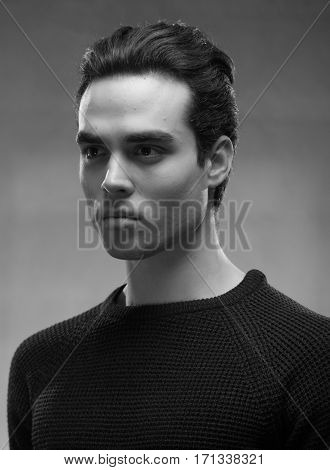 One Young Man Model, Head Face, Black And White