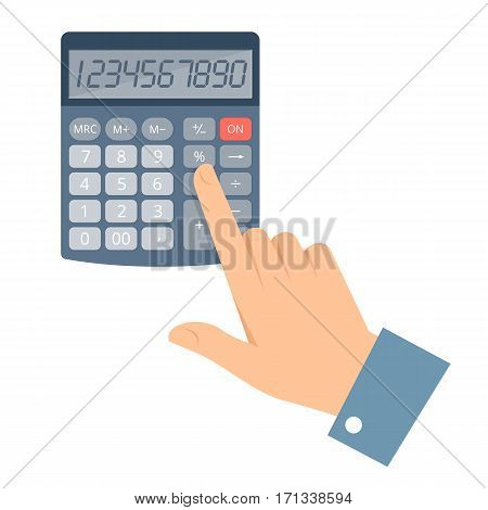Businessman counting earnings on the calculator. Vector flat illustration of man hand and office school electronic calculator. Isolated on white background template with infographic elements for web.