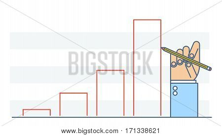Businessman hand drawing growth chart to improve business. Flat line illustration of hand pencil increase column graph diagram. Concept isolated vector infographic element for web presentation.
