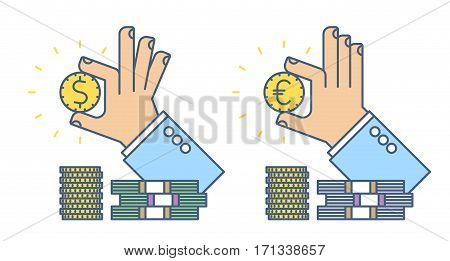 Businessman hand holding a dollar and euro coin. Flat line busines concept illustration of two types hand money cash. Isolated vector infographic element for web design presentation social networks