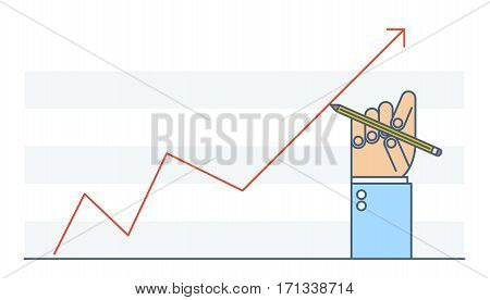 Businessman hand drawing increase graph to improve business. Flat line illustration of hand pen growth arrow diagram. Concept isolated vector infographic element for web networks presentation.