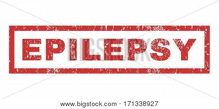 Epilepsy text rubber seal stamp watermark. Tag inside rectangular banner with grunge design and scratched texture. Horizontal vector red ink sign on a white background.