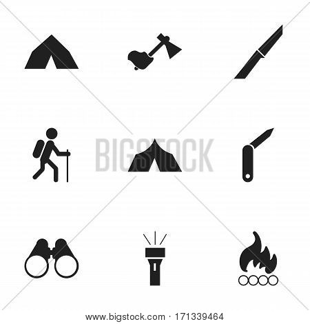 Set Of 9 Editable Camping Icons. Includes Symbols Such As Ax, Gait, Lantern And More. Can Be Used For Web, Mobile, UI And Infographic Design.
