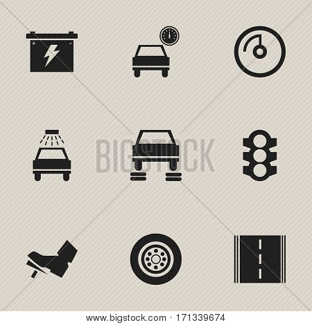 Set Of 9 Editable Car Icons. Includes Symbols Such As Stoplight, Treadle, Auto Repair And More. Can Be Used For Web, Mobile, UI And Infographic Design.