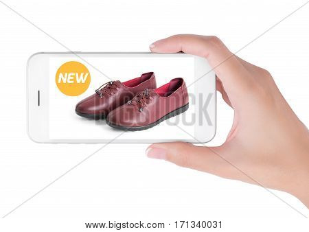 woman using smart phone searching new trendy leather shoes fashion information View of profile with yellow tag and red leather shoes. Fashion and accessories concept isolated white background.