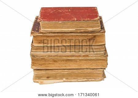 Old tattered books. Vintage torn books. Antiques isolated