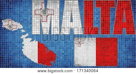 Mosaic map and flag of Malta with effect - 3D Illustration,   Font with the Malta flag