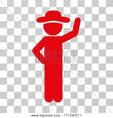 Gentleman Assurance icon. Vector illustration style is flat iconic symbol red color transparent background. Designed for web and software interfaces.