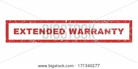 Extended Warranty text rubber seal stamp watermark. Caption inside rectangular banner with grunge design and unclean texture. Horizontal vector red ink sign on a white background.