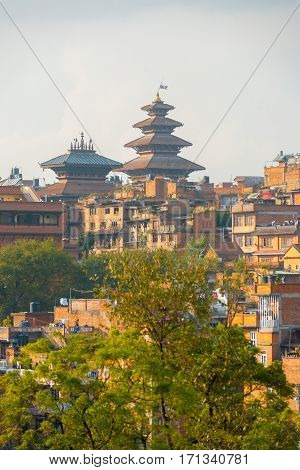 Bhaktapur Cityscape Nyatapola Pagoda Distant