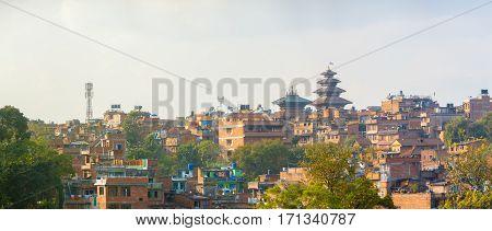 Bhaktapur Cityscape Nyatapola Pagoda Panoramic