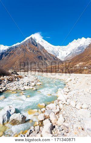 Langtang Lirung Himalayas Mountains Rocks River