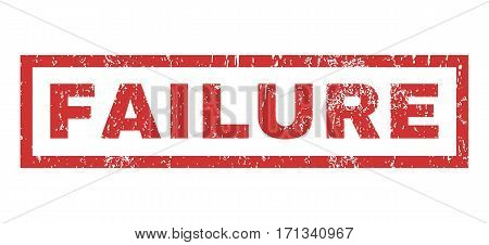 Failure text rubber seal stamp watermark. Caption inside rectangular shape with grunge design and dirty texture. Horizontal vector red ink sign on a white background.