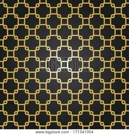 Seamless ornament in arabian style. Pattern for wallpapers and backgrounds. Black and golden pattern
