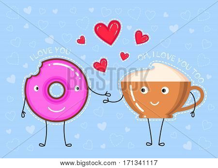 vector illustration of donut with pink glaze coffee cup what declaration of love and red hearts on blue background