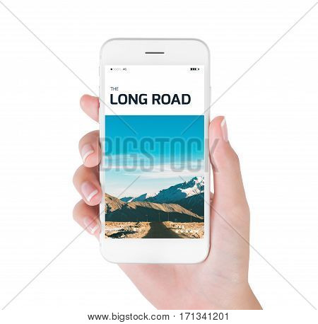 woman using her smartphone for searching the travel information of long road in Himalayan range winter season Leh Ladakh India. Traveling concept isolated on white background.