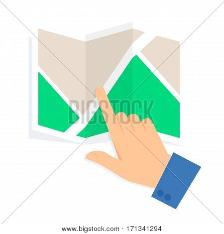Business people travel concept isolated on white background. Flat vector illustration of a human hand and a map. Man is pointing a place on a plan. Infographic element for web print social networks.