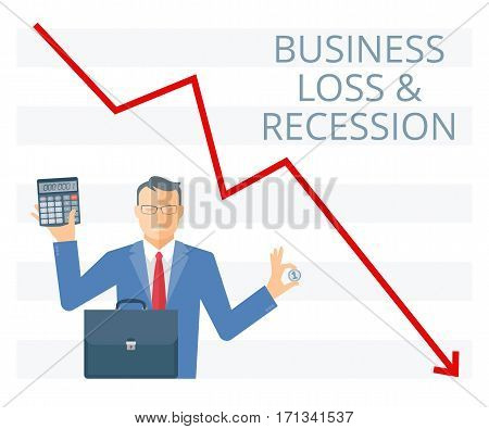 Business loss and recession flat vector concept illustration. Businessman is holding a coin in one hand and calculator in another. Manager with briefcase money on the background of decreasing arrow.