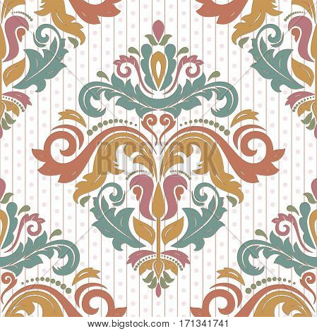 Seamless damask colorful pattern. Traditional classic orient ornament