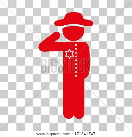 Gentleman Officer icon. Vector illustration style is flat iconic symbol red color transparent background. Designed for web and software interfaces.