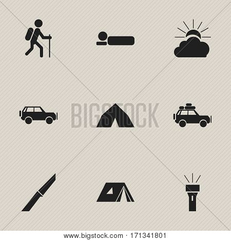 Set Of 9 Editable Camping Icons. Includes Symbols Such As Lantern, Sunrise, Voyage Car And More. Can Be Used For Web, Mobile, UI And Infographic Design.