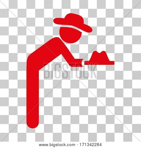 Gentleman Servant icon. Vector illustration style is flat iconic symbol red color transparent background. Designed for web and software interfaces.