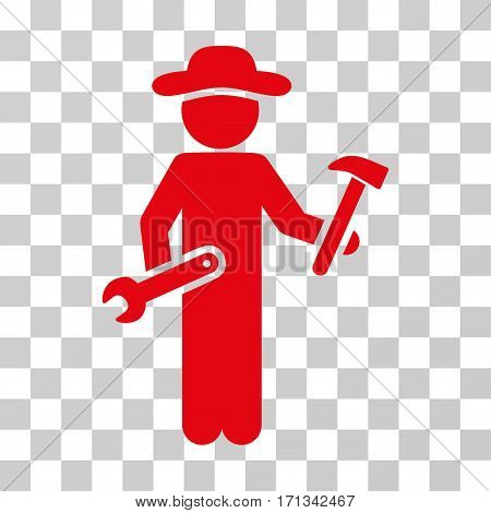 Gentleman Serviceman icon. Vector illustration style is flat iconic symbol red color transparent background. Designed for web and software interfaces.