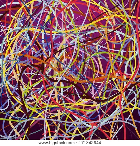 Vector background with moving colorful lines. Bright background of curves lines with a lot of colors.