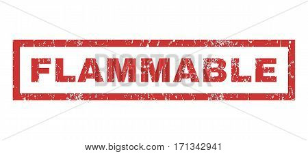 Flammable text rubber seal stamp watermark. Tag inside rectangular banner with grunge design and scratched texture. Horizontal vector red ink emblem on a white background.