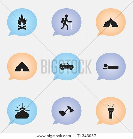 Set Of 9 Editable Trip Icons. Includes Symbols Such As Sport Vehicle, Ax, Fever And More. Can Be Used For Web, Mobile, UI And Infographic Design.