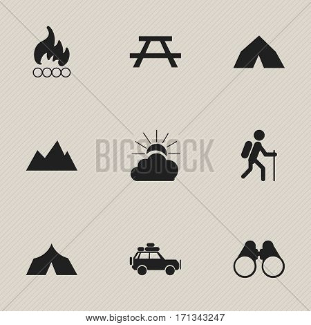 Set Of 9 Editable Trip Icons. Includes Symbols Such As Tepee, Sunrise, Voyage Car And More. Can Be Used For Web, Mobile, UI And Infographic Design.