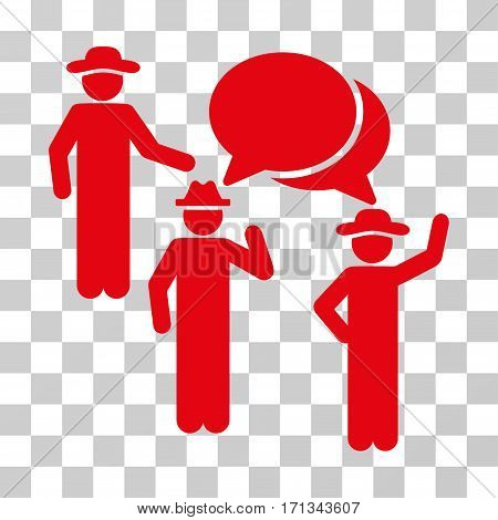 Gentlemen Discussion icon. Vector illustration style is flat iconic symbol red color transparent background. Designed for web and software interfaces.