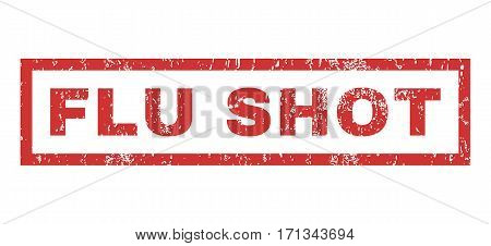 Flu Shot text rubber seal stamp watermark. Tag inside rectangular shape with grunge design and dust texture. Horizontal vector red ink emblem on a white background.