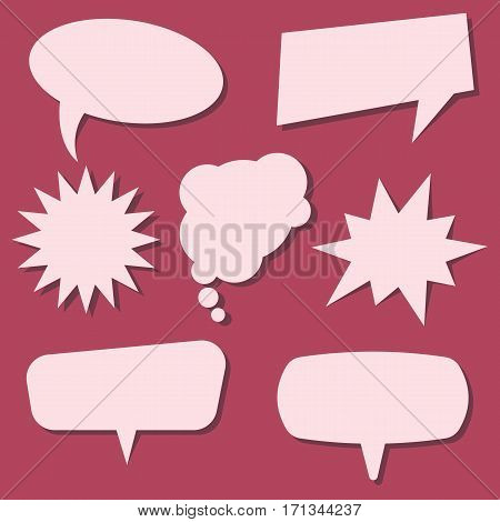 Set of speech bubbles on a red background. Speech bubbles without phrases. Vector illustration.