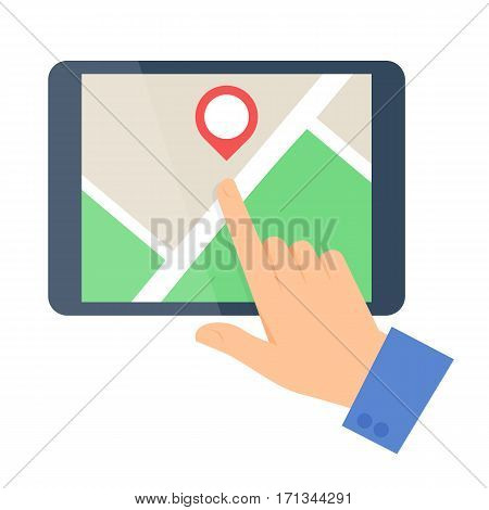 Business people travel concept. Flat vector illustration of a human hand and a map on a tablet computer screen. Man and pointer are pointing a place. Infographic elements isolated on white background.