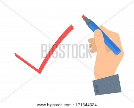 Human hand write check sign with pen on a voting paper. Flat concept illustration of man's hand red pen ballot paper tick mark. Isolated vector infographic element for web presentation brochures.