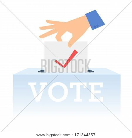 Human hand putting voting paper in the ballot box. Flat concept illustration of hand ballot paper voting container. Isolated vector infographic element for web presentation brochures.