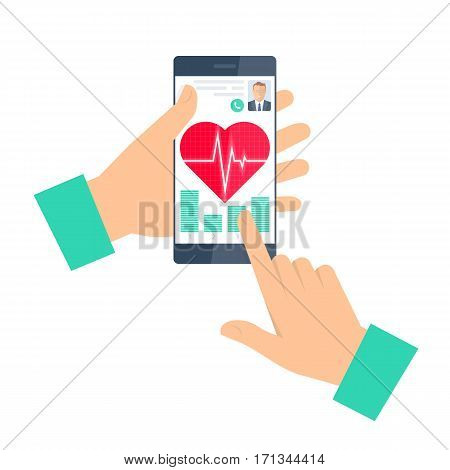 Doctor advises a patient on a phone. Telemedicine and telehealth flat concept illustration. Man hand smartphone heart with pulse on a screen. Vector element for tele and remote medicine infographic.