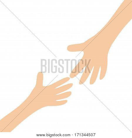 Two hands arms reaching to each other. Helping hand. Close up body part. Happy Valentines day. Flat design. Love soul gift concept White background. Isolated. Vector illustration