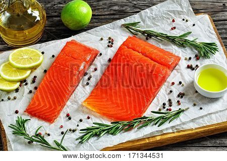 Salmon Fillet On Chopping Board, View From Above