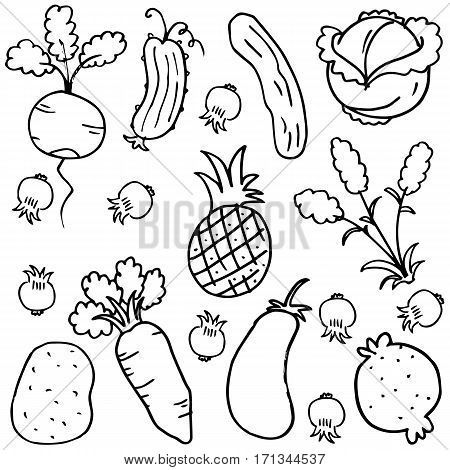 Doodle of vegetable collection stock vector art