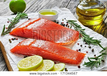 Two Pieces Of Salted Salmon Fish Fillet
