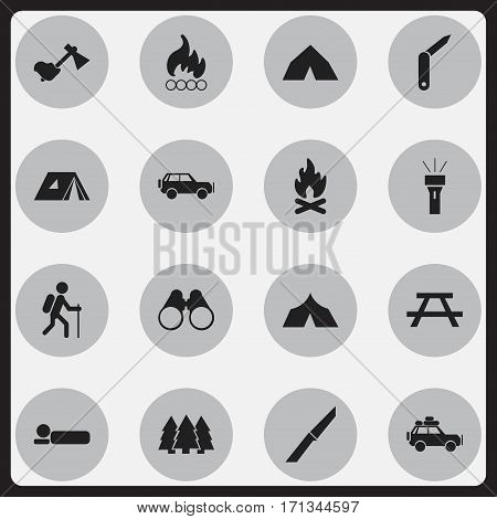Set Of 16 Editable Travel Icons. Includes Symbols Such As Ax, Knife, Voyage Car And More. Can Be Used For Web, Mobile, UI And Infographic Design.