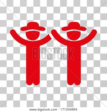 Hands Up Gentlemen icon. Vector illustration style is flat iconic symbol red color transparent background. Designed for web and software interfaces.