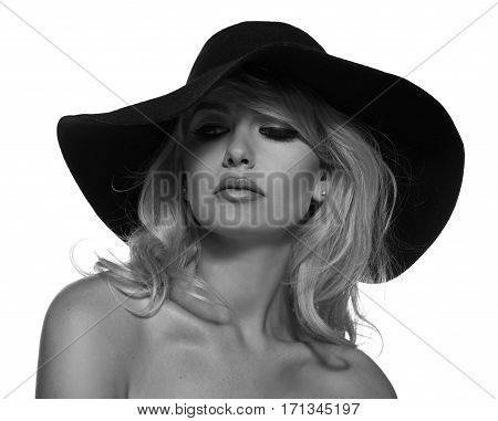 portrait of a beautiful blonde in retro style isolated on white background. copy space