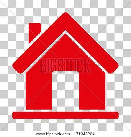 Home icon. Vector illustration style is flat iconic symbol red color transparent background. Designed for web and software interfaces.