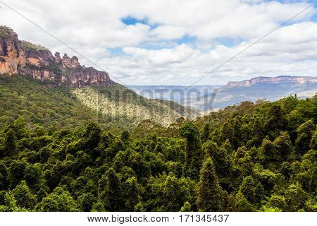 Three sisters rock formation the spectacular landscape of Blue mountains in New South Wales Australia.