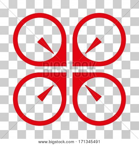 Hover Drone icon. Vector illustration style is flat iconic symbol red color transparent background. Designed for web and software interfaces.