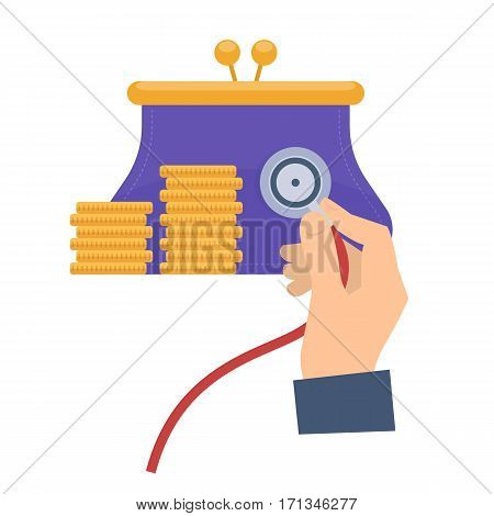 Business consultant using a stethoscope on a purse. Flat vector concept illustration of hand with stethoscope purse coins. Businessman check a money health. Web presentation infographic elements.
